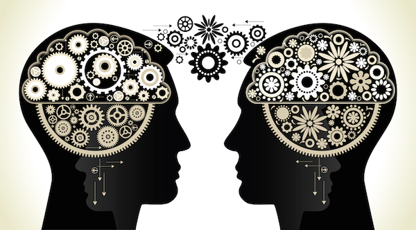 two persons with gears. the concept of logical and associative thinking man