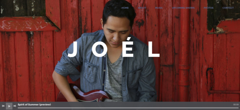 Musician's Website - Layout Example Joel Hernandez