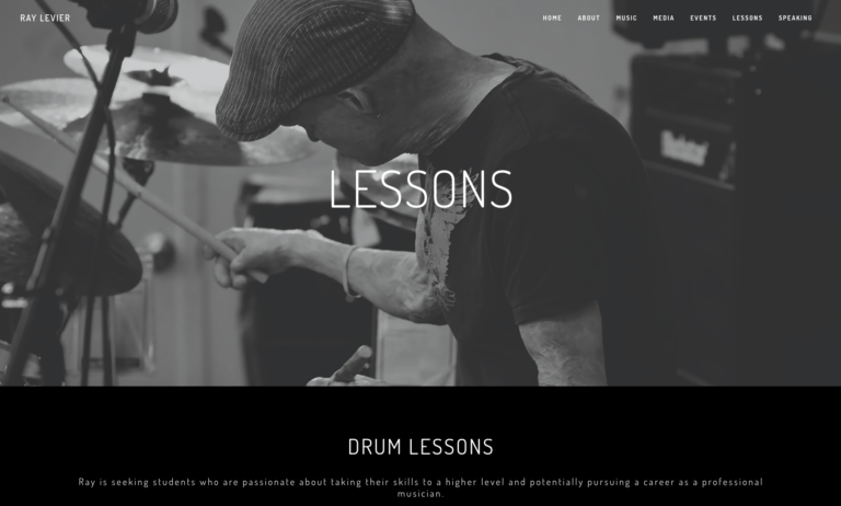 Musician's Website - Design Example Ray Levier