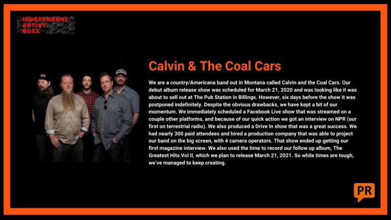 Calvin and The Coal Cars Independent Artist Buzz Spotify Playlist
