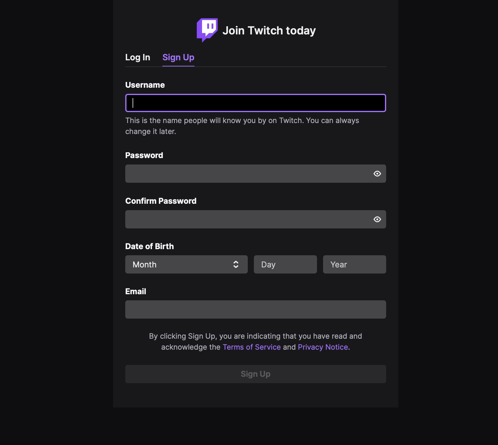twitch sign-up